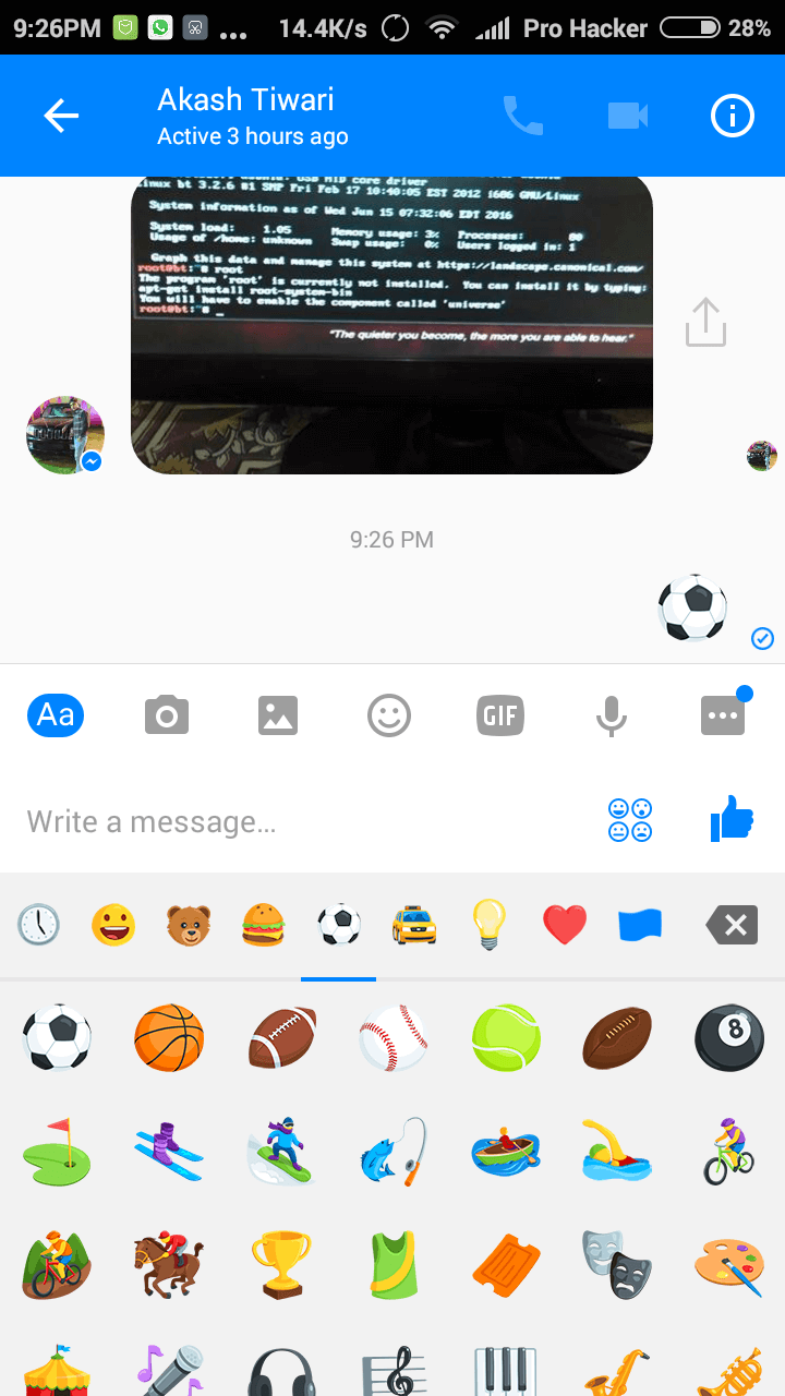 Soccer Emoji in Facebook Messenger App