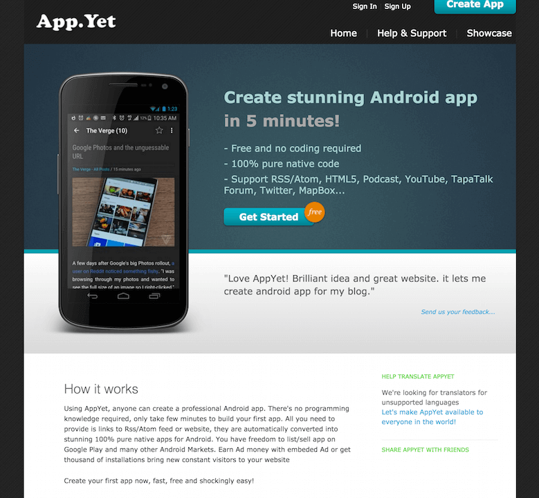 AppsYet Create Stunning Free Android Apps for your blog and Website without Coding