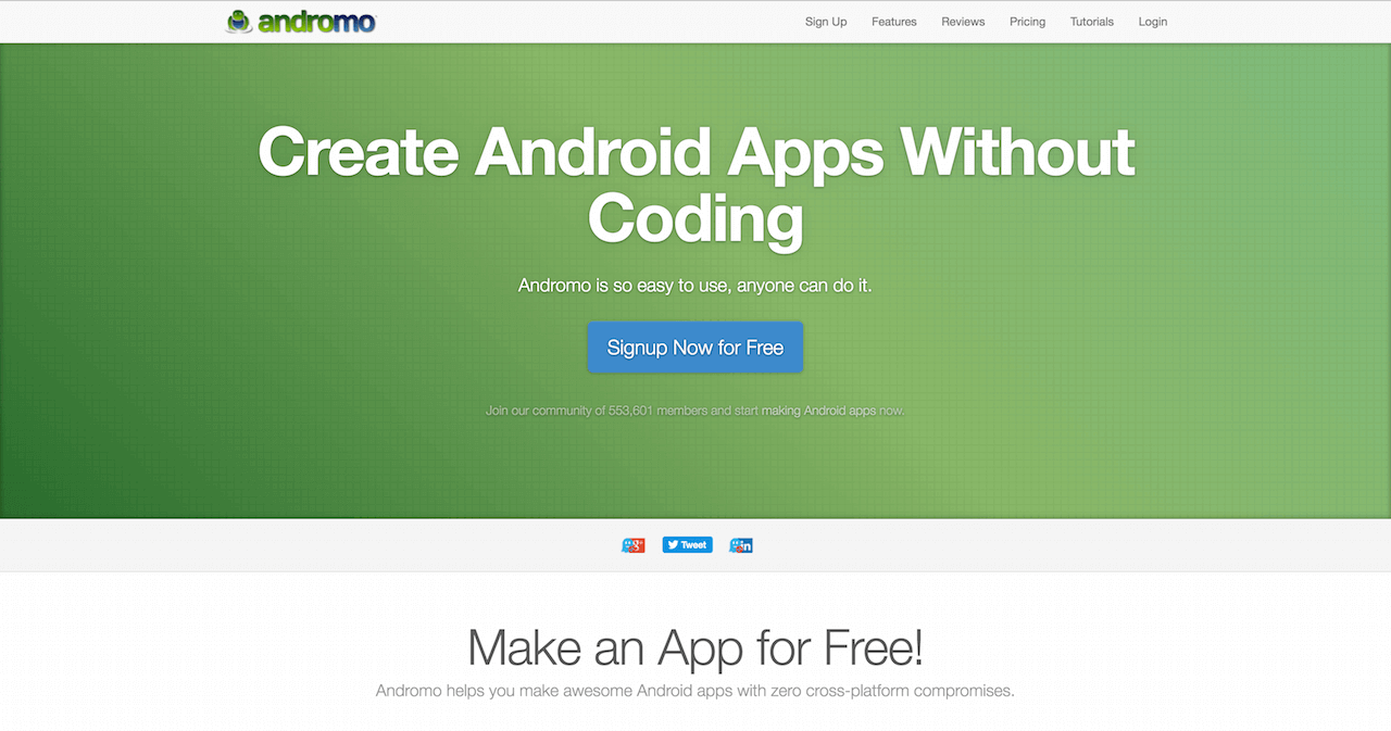 Andromo Create android apps without Coding