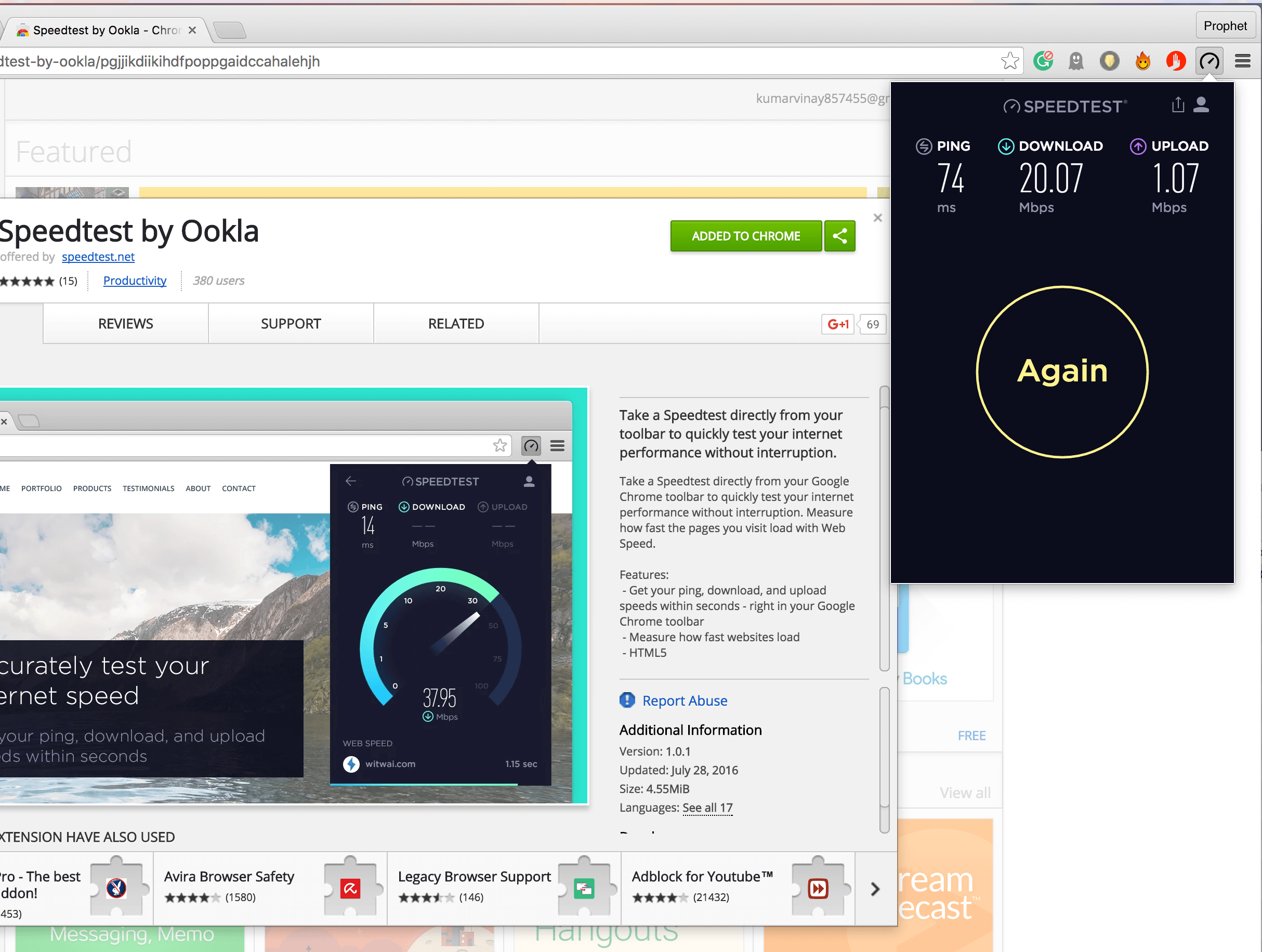 Speedtest Chrome Extension by Ookla