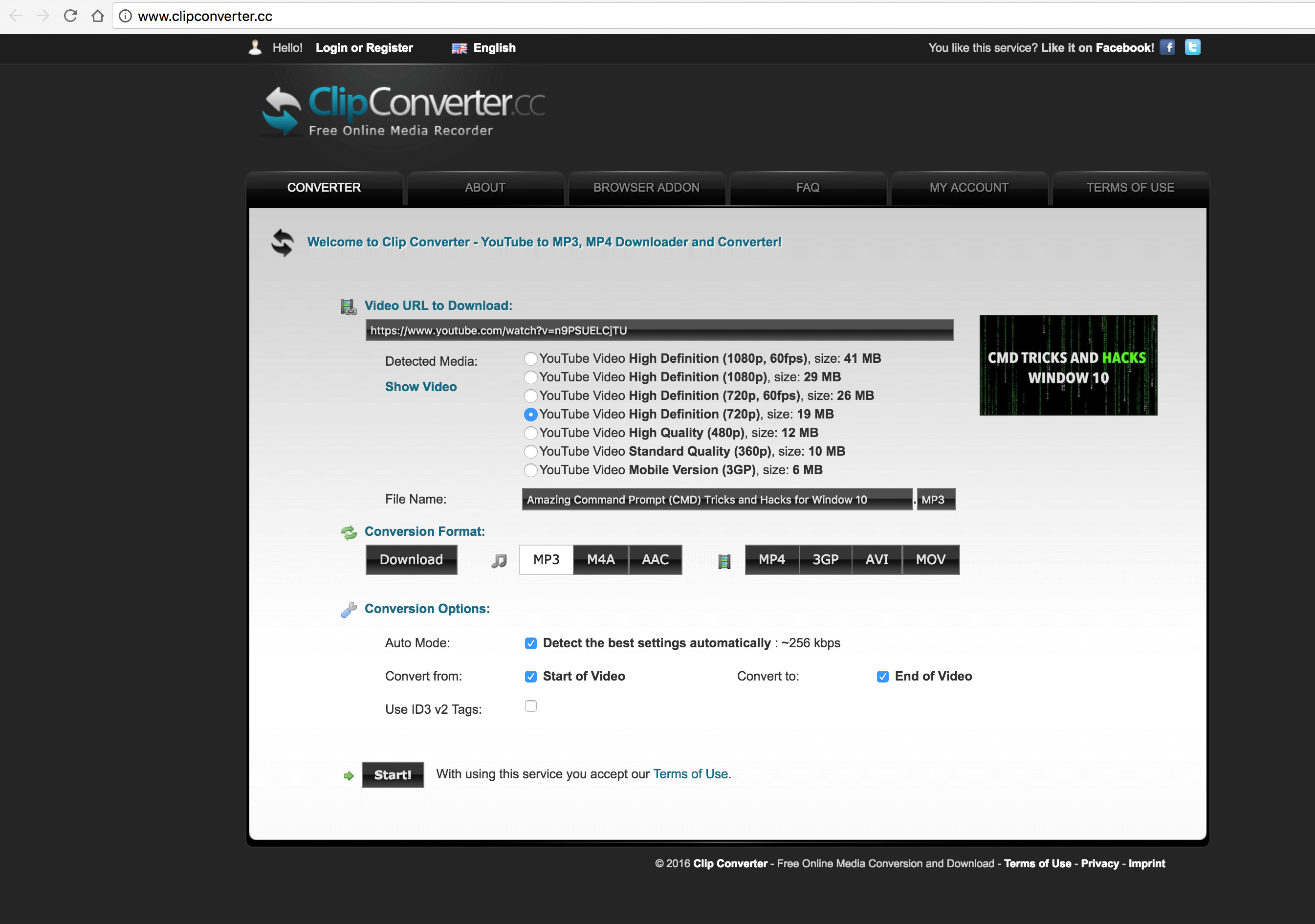 Clipconverter.cc Convert Youtube Video into MP3