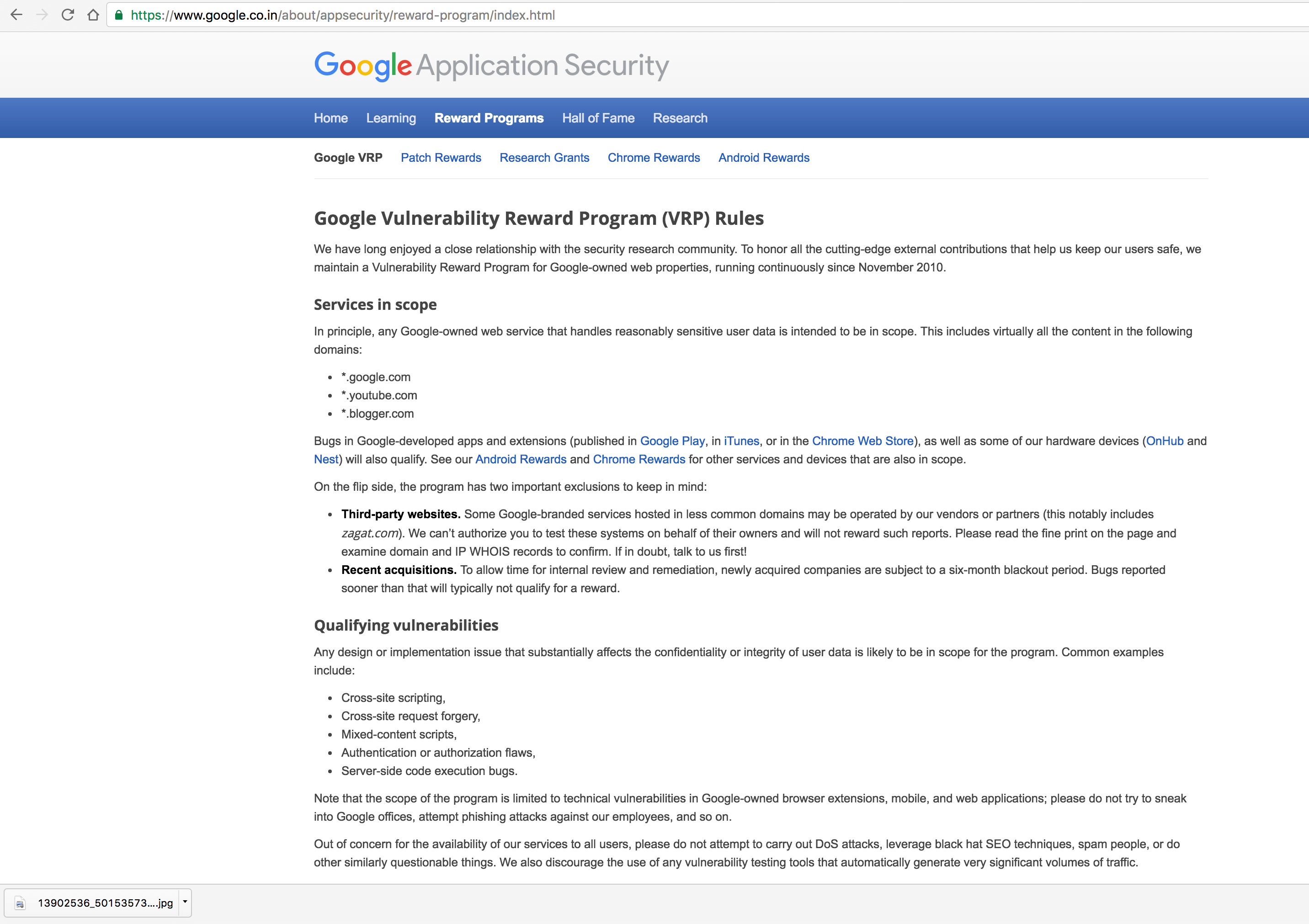 Google Application Security and Bug Bounty Program