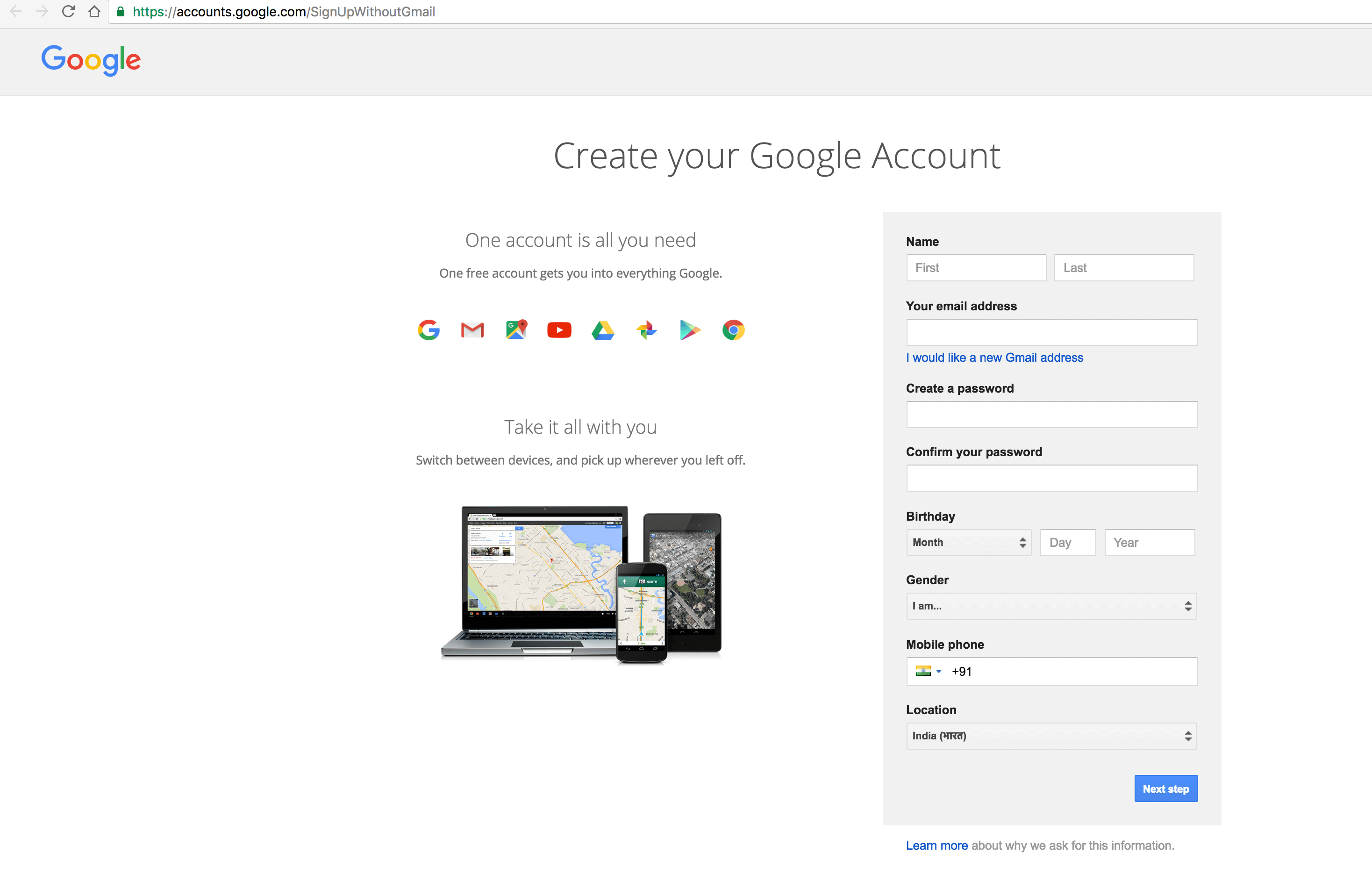 Signup without Gmail