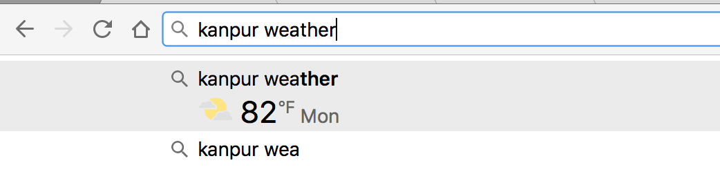 Weather in Google Chrome