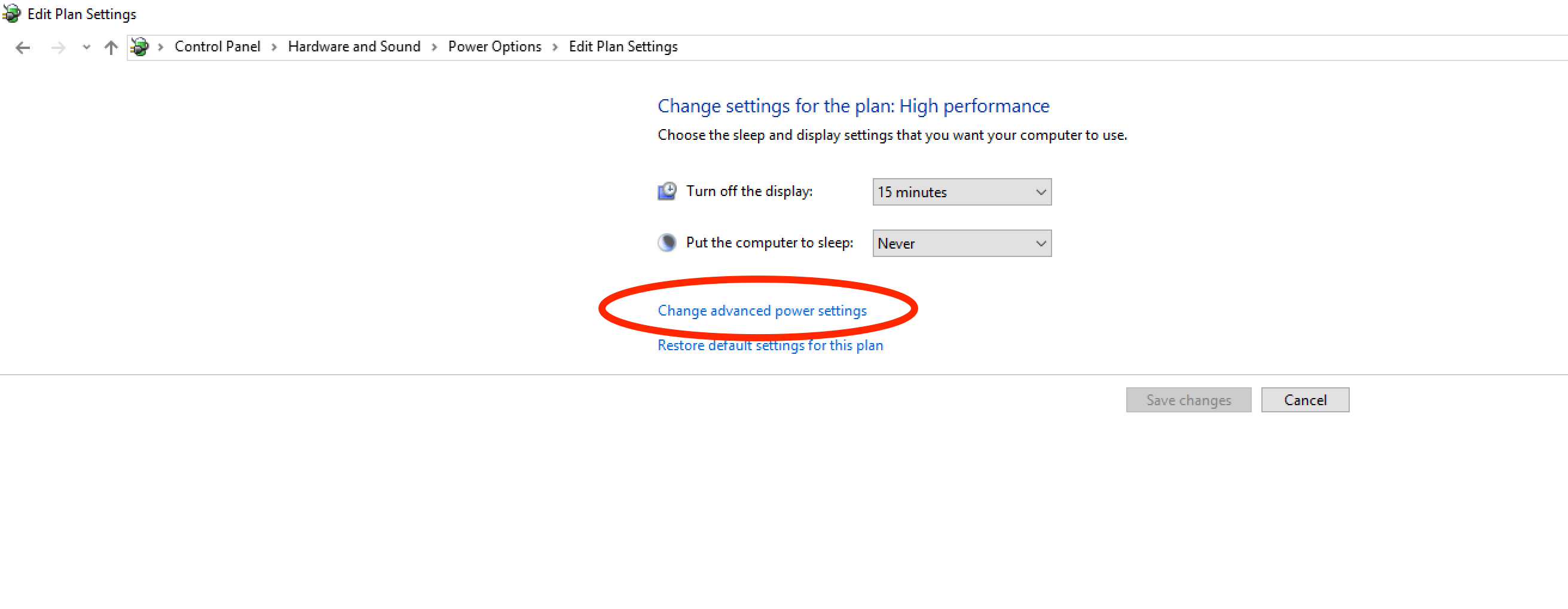 Advanced Power Settings in Window 10