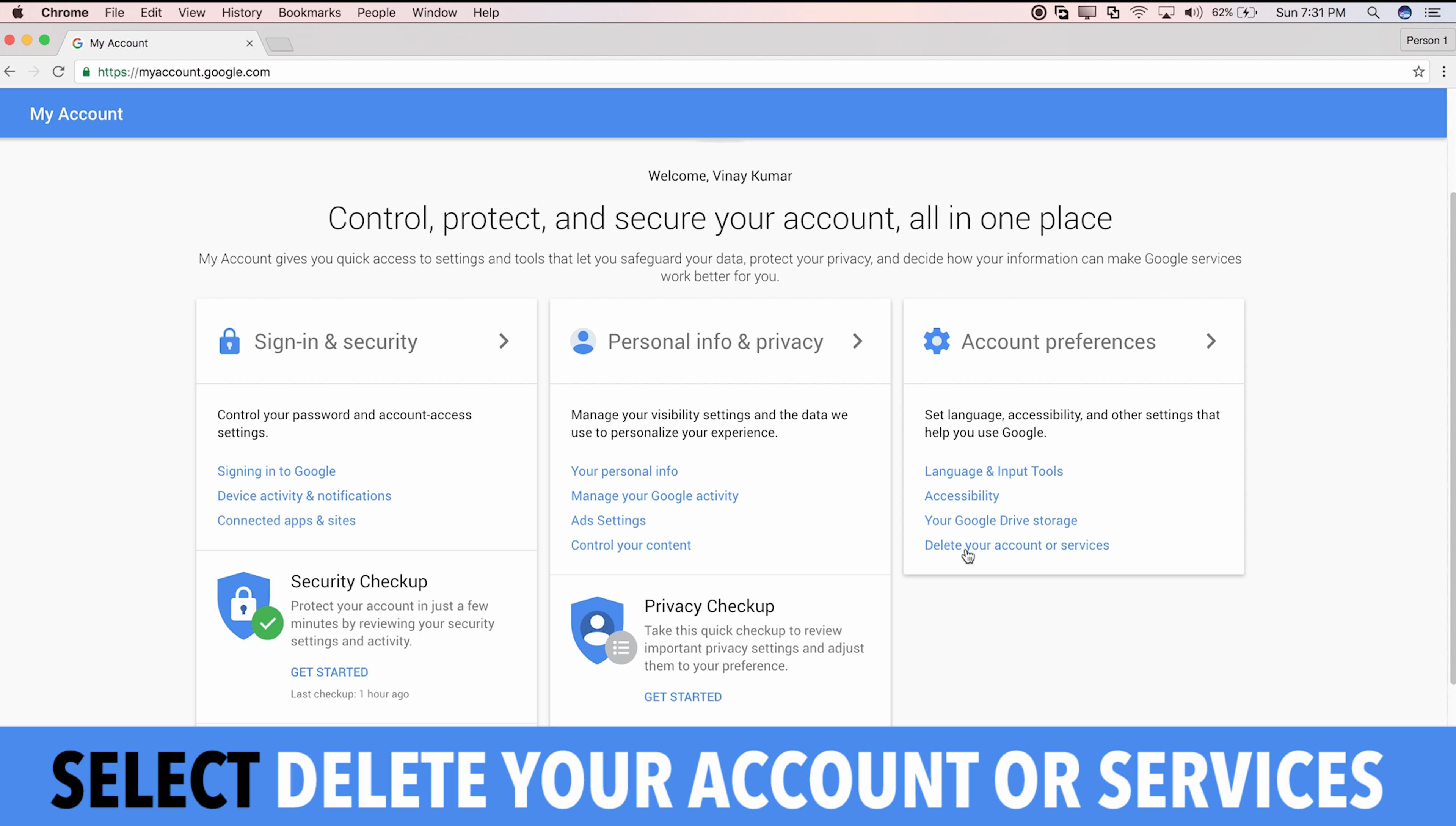 Delete Your Account or Services in Google