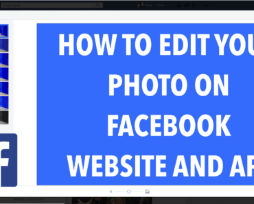 How to Edit your Photo on Facebook Website and App