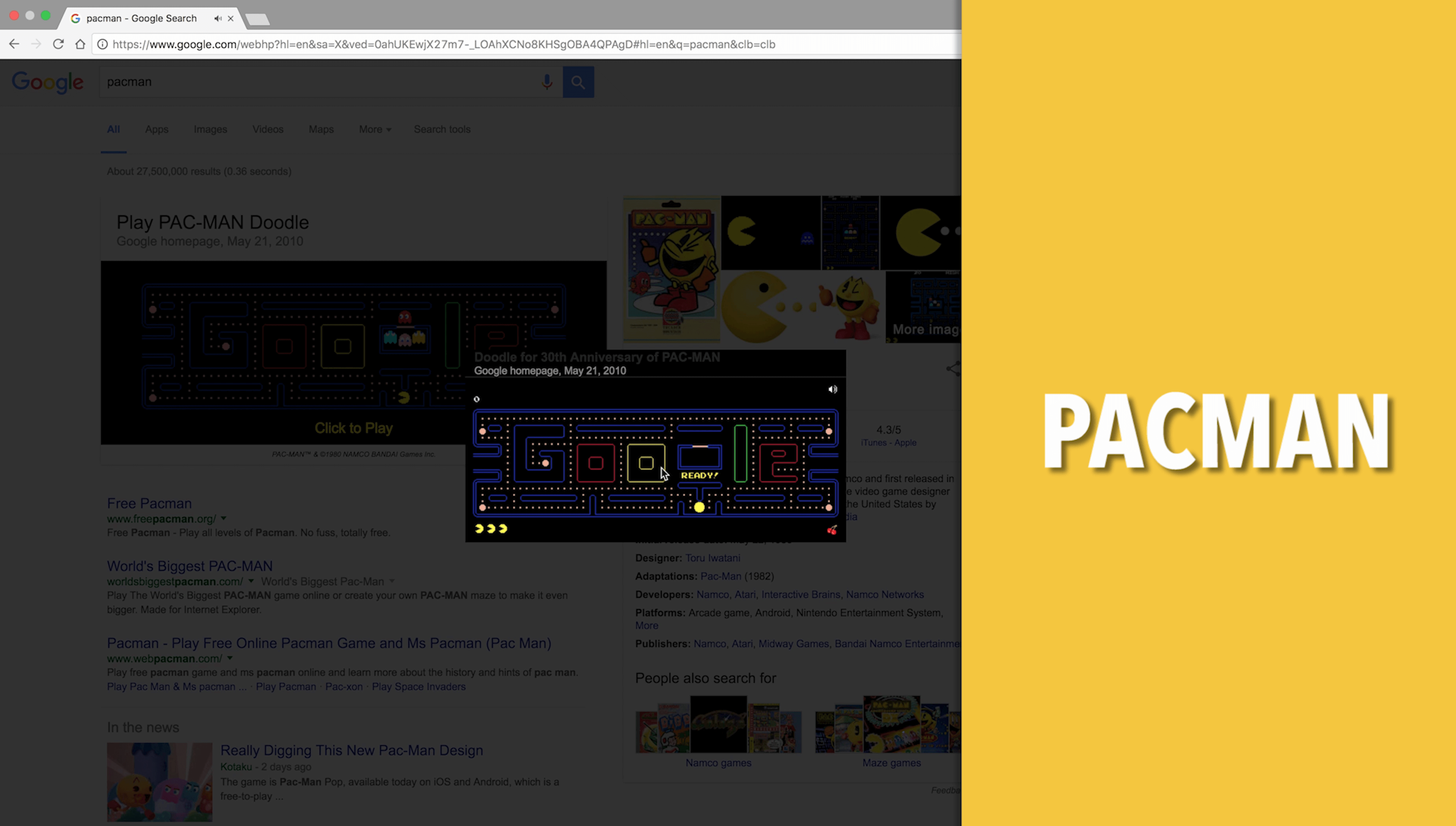 Pacman Google Search Game