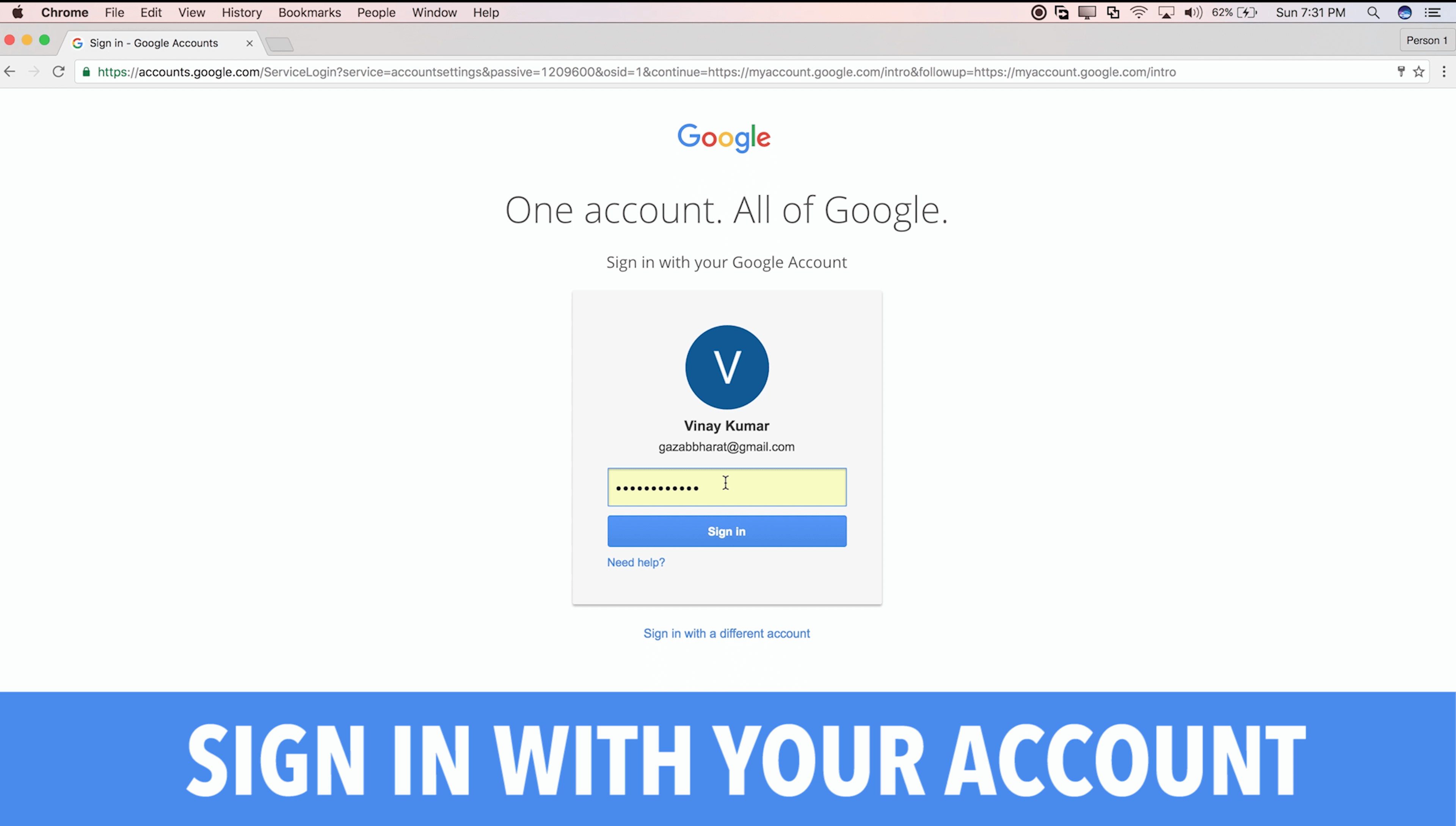 Sign in with your account