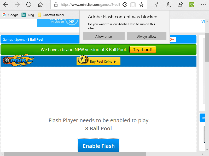 Adobe Flash content has blocked
