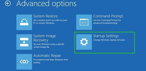 advanced option then click on the startup settings