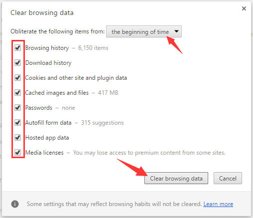 click on Clear browsing data